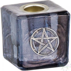"Porte MINI CHANDelle VERRE 1.25""NOIR+PENTACLE"
