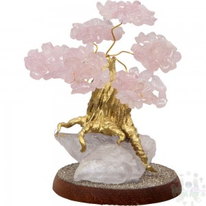 "BONSAI PIERRE.SEMI PRICIEUSE 4""X2.75""-QTZ ROSE"