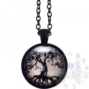 Pendentif verre arbre vie noir 25mmdia