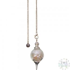 Pendule séphoroton en verre: éclats de sel  et sélénite