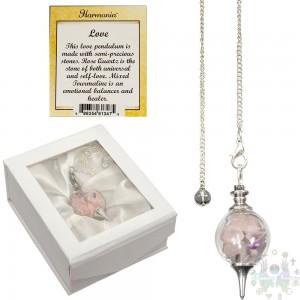 Pendule sépĥoroton verre +éclats Quartz rose & tourmalinemixte