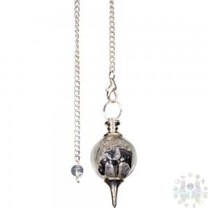 Pendule séphoroton éclats de cristaux & hématite