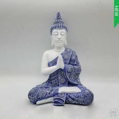 POLYRE BUDDHA blue/white 16''H Mx3