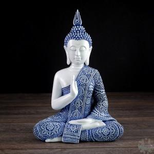 Bouddha assis blanc et bleu  III 8x4x11