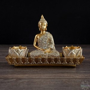 Bouddha or - bougie chauffe-plat 8x3x6