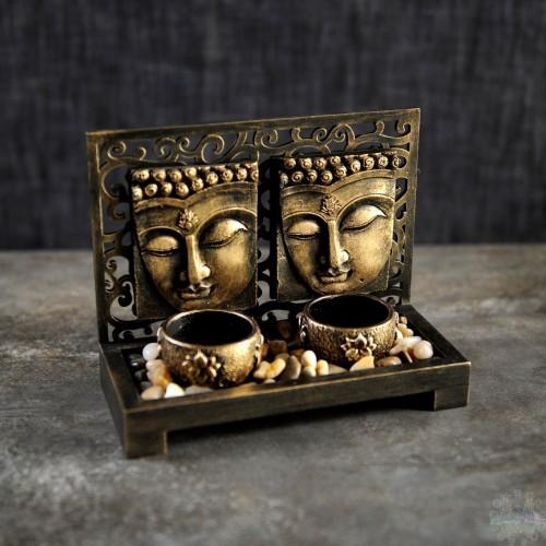 DOUBLE BUDDHA TEA LIGHT,,