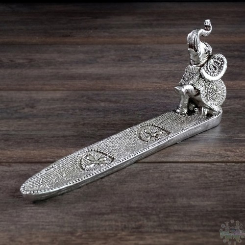 SILVER ELEPHANT INCENSE HOLDR 9,5x2