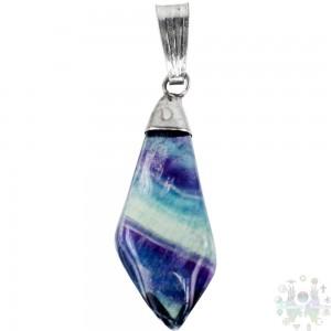 """Pendentif pierre en forme de diamant - fluorite arc-en-ciel 0,5""""-1,25"""""""