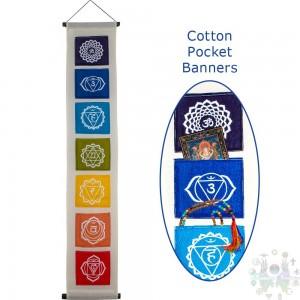 """Banniere cotton- symbole chakra sur pochette- blanch e - 51""""l,"""