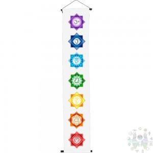 """Bannière imprimée en couleur de coton Chakras blanc-12X60"""""""