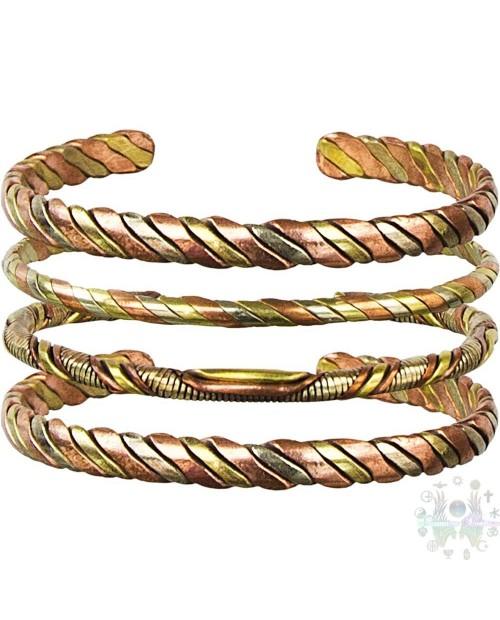 Bracelet 3 métaux entrelaces ajustable