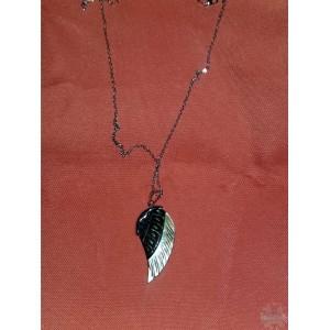 pendentif aile sculptée - Nacre de perle + Chaine - 1,5