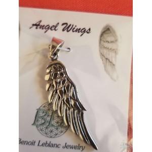 "Pendentif argent sterling - aile d'ange 1,5"""